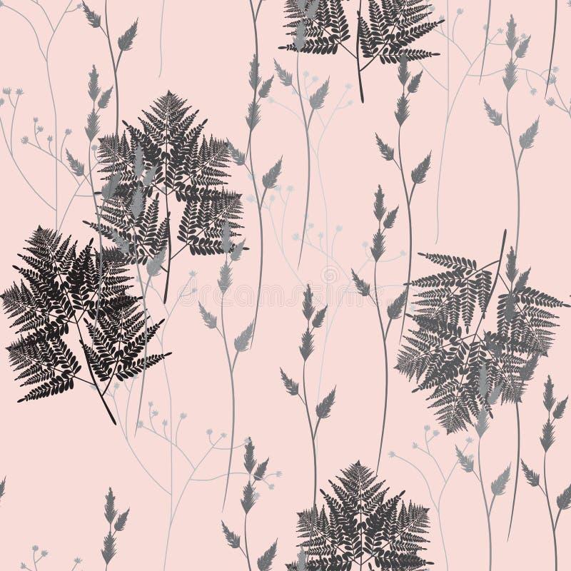 Άνευ ραφής floral σχέδιο με τα άγριες χορτάρια και τις φτέρες ανασκόπησης ξηρός floral βρώμικος λεκιασμένος φυτό τρύγος εγγράφου  απεικόνιση αποθεμάτων