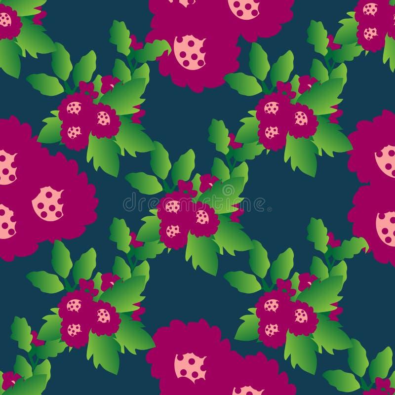 Άνευ ραφής floral σχέδιο με τα αρκετά κόκκινα λουλούδια και τα φύλλα διανυσματική απεικόνιση