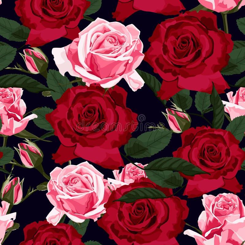 Άνευ ραφής floral σχέδιο με τα κόκκινα, ρόδινα και πράσινα τριαντάφυλλα φύλλων στο μαύρο υπόβαθρο απεικόνιση αποθεμάτων