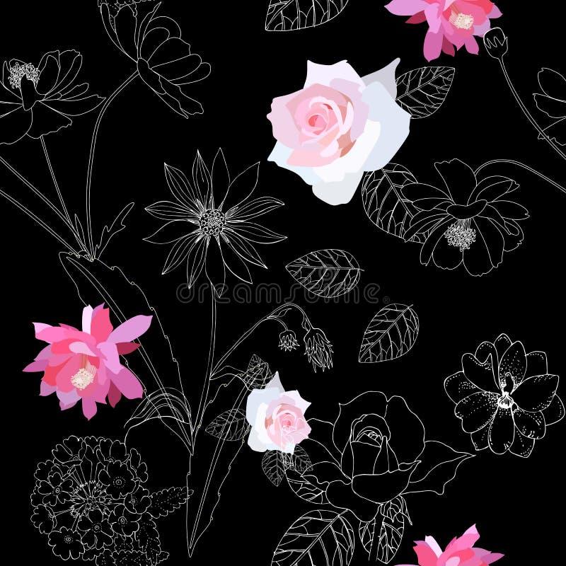 Άνευ ραφής floral σχέδιο με τα λουλούδια κηπουρικής στο μαύρο υπόβαθρο Το Delphinium, αυξήθηκε, epiphyllum, verbena, κόσμος απεικόνιση αποθεμάτων