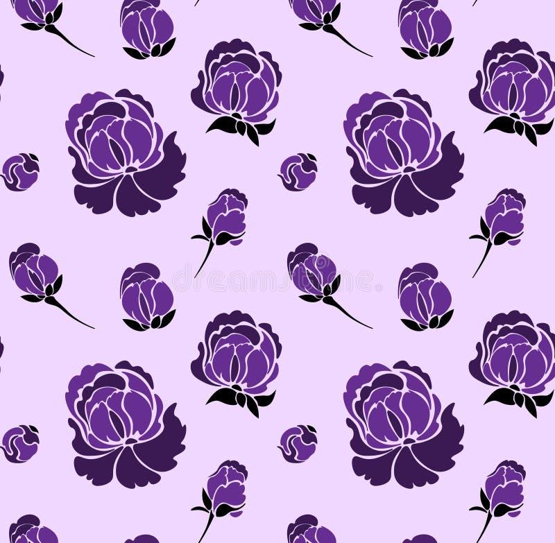 Άνευ ραφής floral σχέδιο με τα τριαντάφυλλα Διάνυσμα θερινών λουλουδιών στοκ φωτογραφία