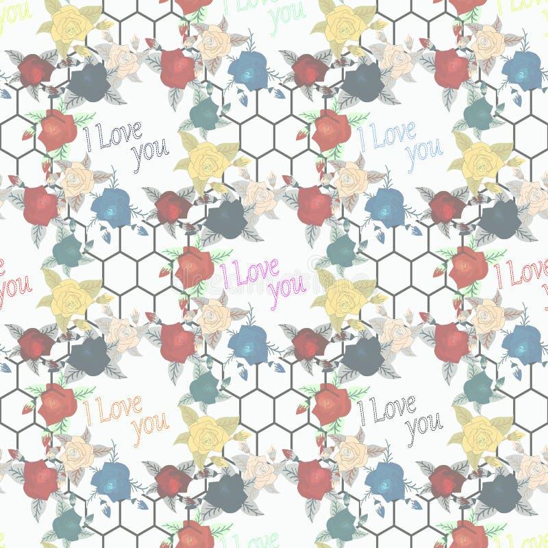 Άνευ ραφής floral σχέδιο με των κόκκινων και ζωηρόχρωμων τριαντάφυλλων στο άσπρο υπόβαθρο επίσης corel σύρετε το διάνυσμα απεικόν διανυσματική απεικόνιση