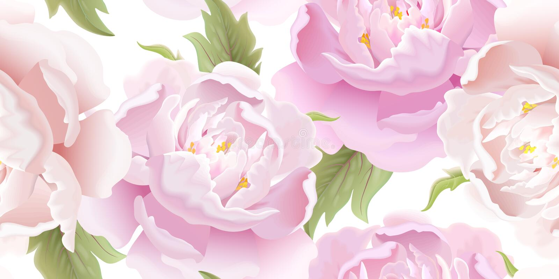 Άνευ ραφής floral σχέδιο με peony διανυσματική απεικόνιση