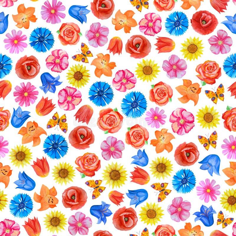Άνευ ραφής floral σχέδιο στο άσπρο υπόβαθρο Διαφορετικά φωτεινά λουλούδια ελεύθερη απεικόνιση δικαιώματος