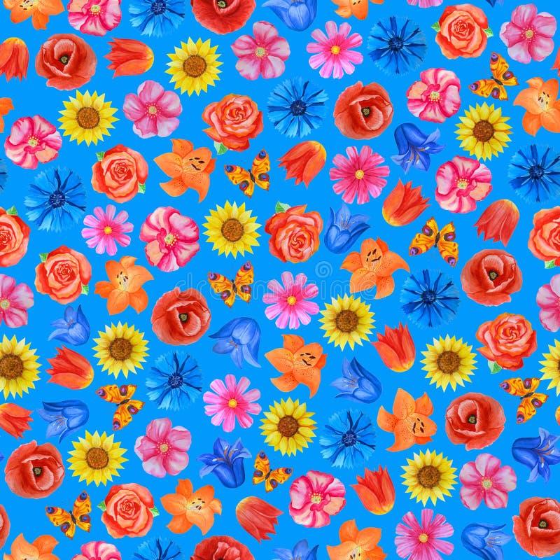 Άνευ ραφής floral σχέδιο στο μπλε υπόβαθρο Διαφορετικά φωτεινά λουλούδια απεικόνιση αποθεμάτων
