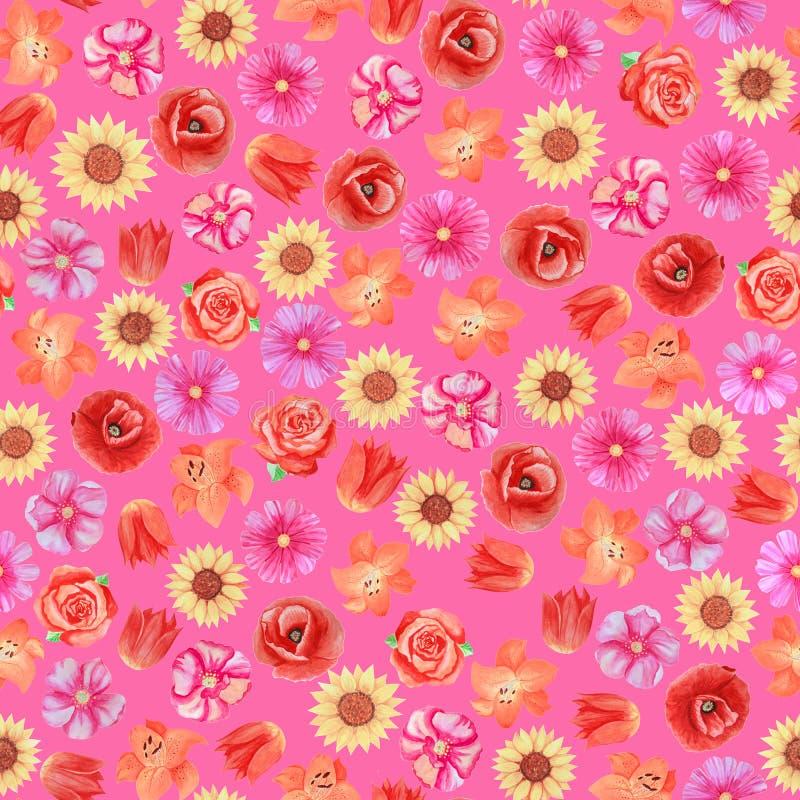 Άνευ ραφής floral σχέδιο στο ρόδινο υπόβαθρο Διαφορετικά φωτεινά λουλούδια διανυσματική απεικόνιση