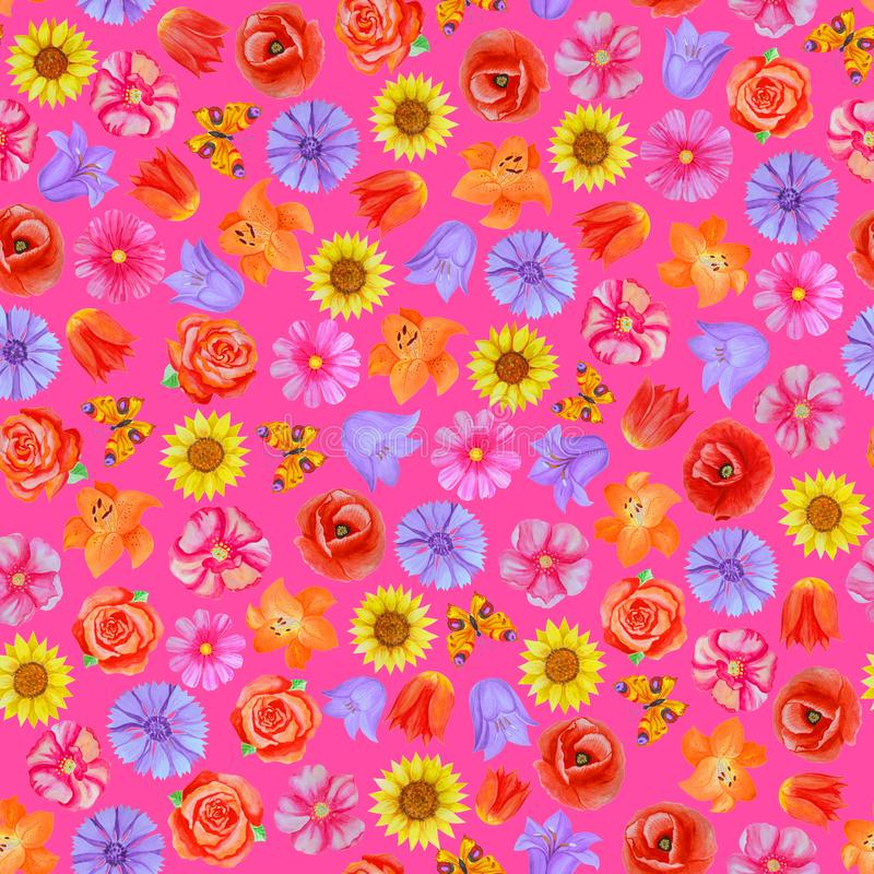 Άνευ ραφής floral σχέδιο στο ρόδινο υπόβαθρο Διαφορετικά φωτεινά λουλούδια απεικόνιση αποθεμάτων