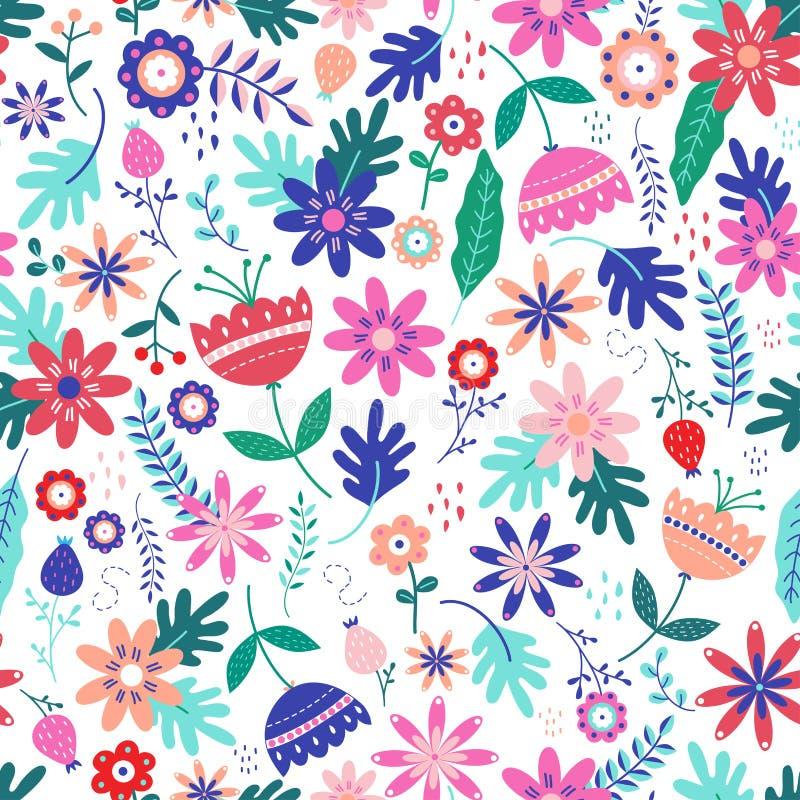 Άνευ ραφής floral σχέδιο στο Σκανδιναβικό λαϊκό διάνυσμα ύφους ελεύθερη απεικόνιση δικαιώματος