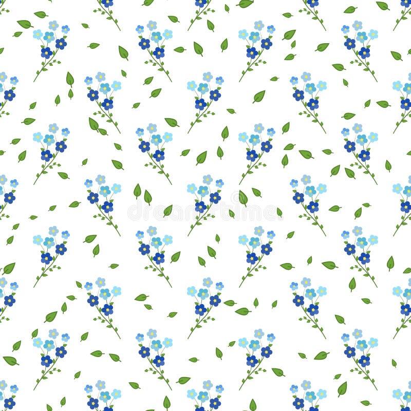 Άνευ ραφής floral σχέδιο των μπλε-και-πορφυρών κλαδίσκων forget-me-not των λουλουδιών, στο άσπρο υπόβαθρο διανυσματική απεικόνιση