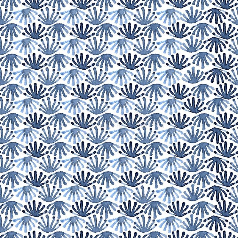 Άνευ ραφής floral σχέδιο χάους κεραμιδιών watercolour απεικόνιση αποθεμάτων