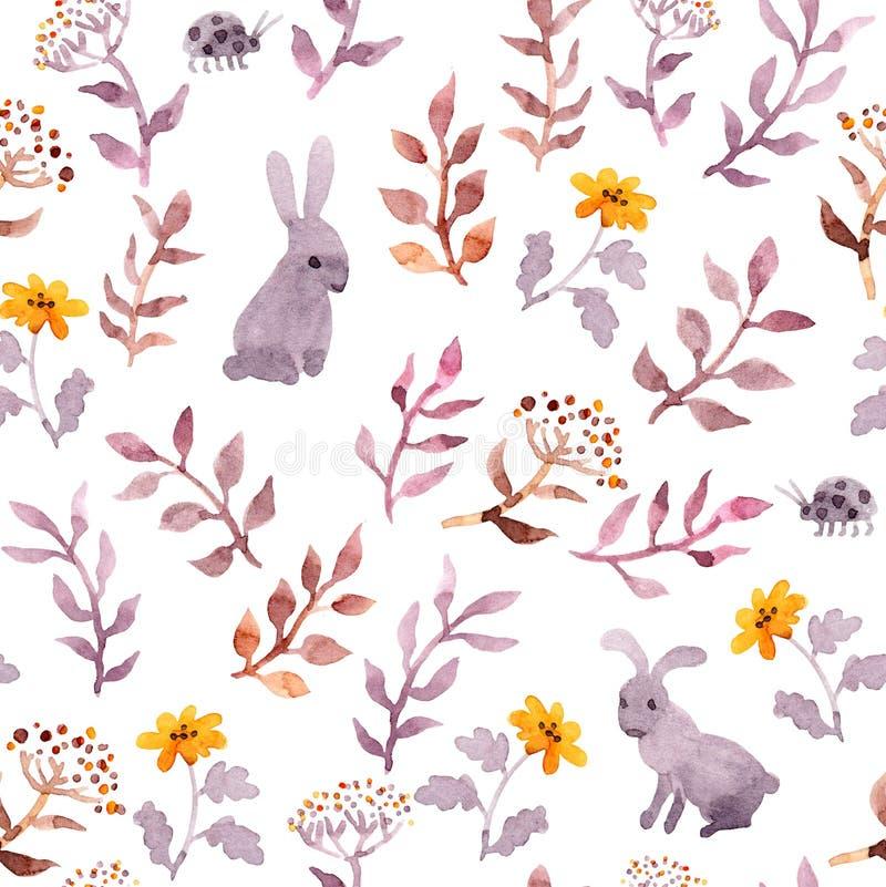 Άνευ ραφής floral σχέδιο - χαριτωμένοι λουλούδια, φύλλα και watercolour λαγοί απεικόνιση αποθεμάτων