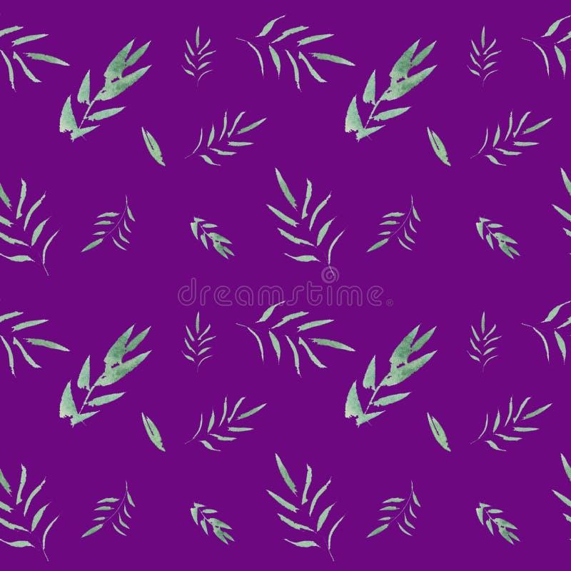 Άνευ ραφής floral σχέδιο watercolor με τα πράσινα φύλλα διανυσματική απεικόνιση