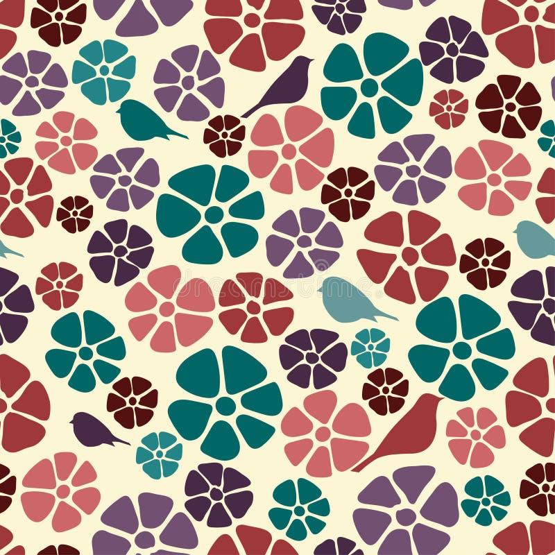 Άνευ ραφής floral σχέδιο, εκλεκτής ποιότητας σύσταση υποβάθρου με τα λουλούδια και τα πουλιά Floral σχέδιο colorfull για το κλωστ ελεύθερη απεικόνιση δικαιώματος