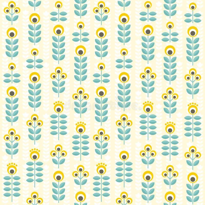 Άνευ ραφής floral σχέδιο, κίτρινος και κιρκίρι απεικόνιση αποθεμάτων
