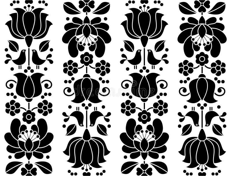Άνευ ραφής floral σχέδιο - κεντητική Kalocsai - παραδοσιακό λαϊκό σχέδιο από την Ουγγαρία διανυσματική απεικόνιση