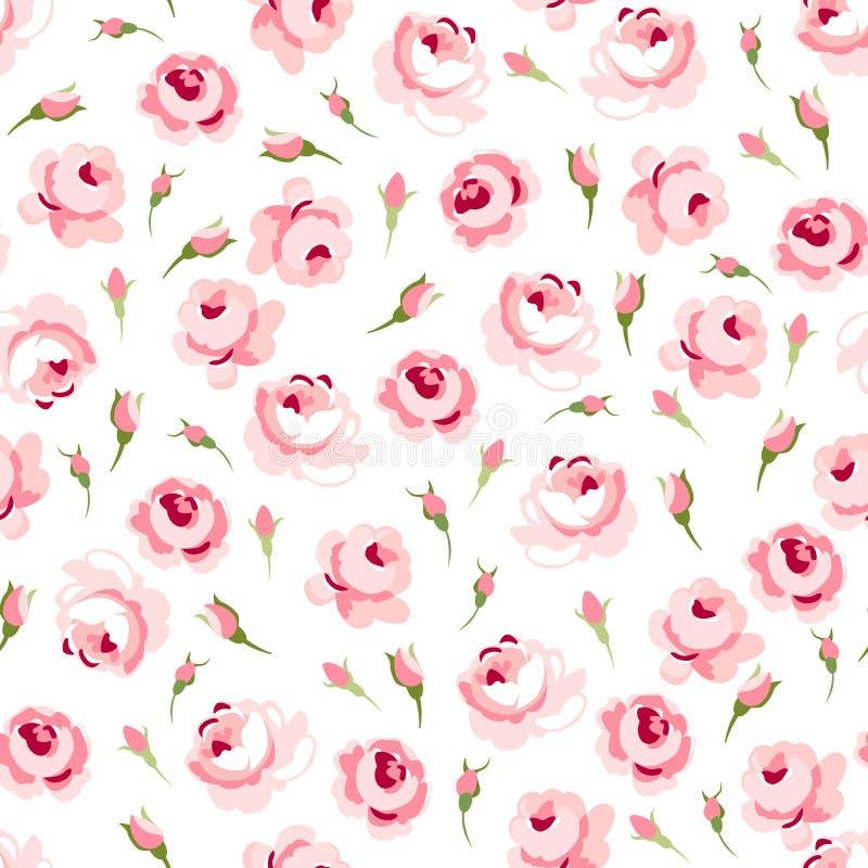 Άνευ ραφής floral σχέδιο με τα μεγάλα και μικρά ρόδινα τριαντάφυλλα διανυσματική απεικόνιση