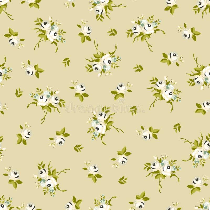Άνευ ραφής floral σχέδιο με τα μικρά άσπρα τριαντάφυλλα απεικόνιση αποθεμάτων