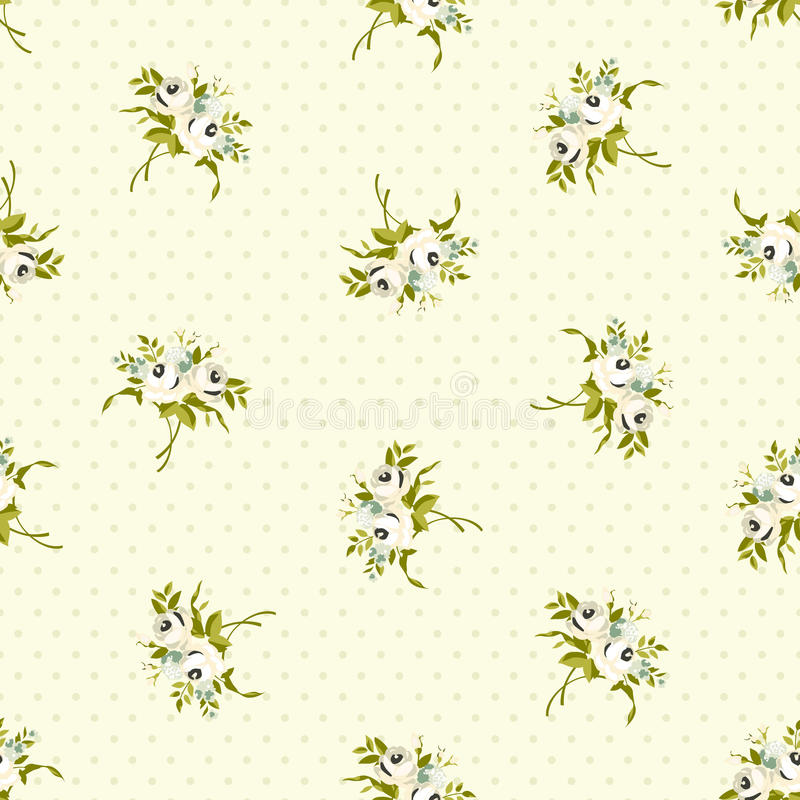 Άνευ ραφής floral σχέδιο με τα μικρά άσπρα τριαντάφυλλα ελεύθερη απεικόνιση δικαιώματος
