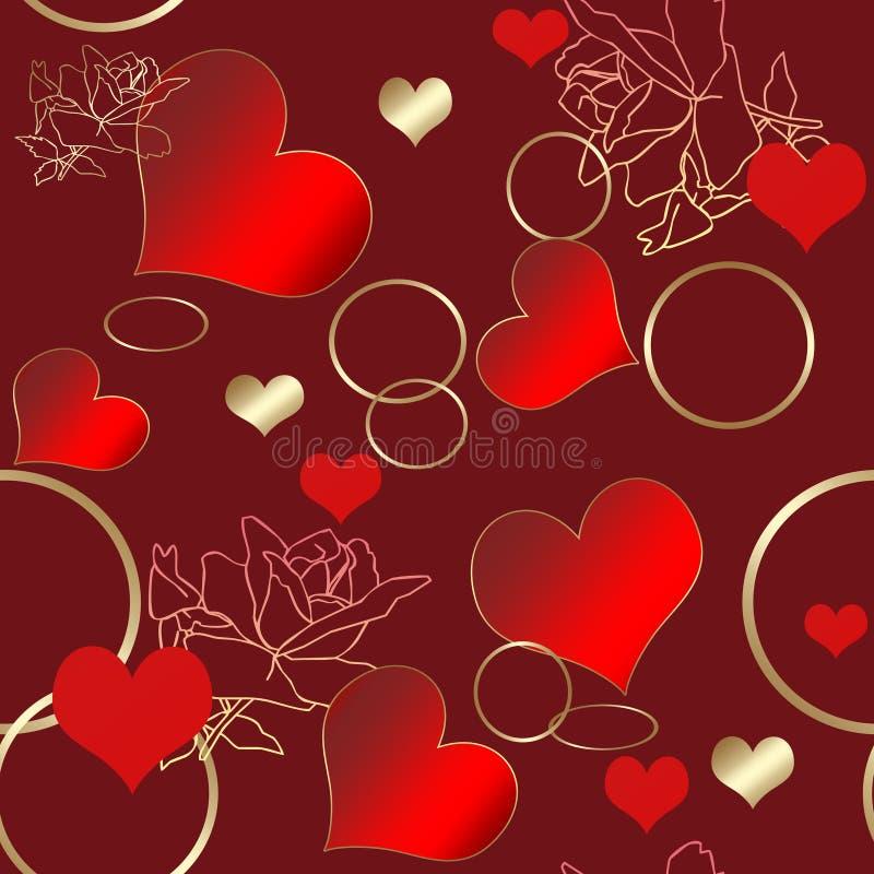 Άνευ ραφής floral σχέδιο με τα τριαντάφυλλα, τις καρδιές και τα δαχτυλίδια απεικόνιση αποθεμάτων