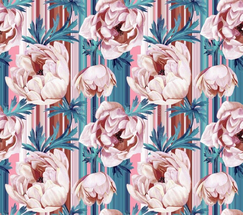 Άνευ ραφής floral σχέδιο με τα anemonies και τα λωρίδες διανυσματική απεικόνιση