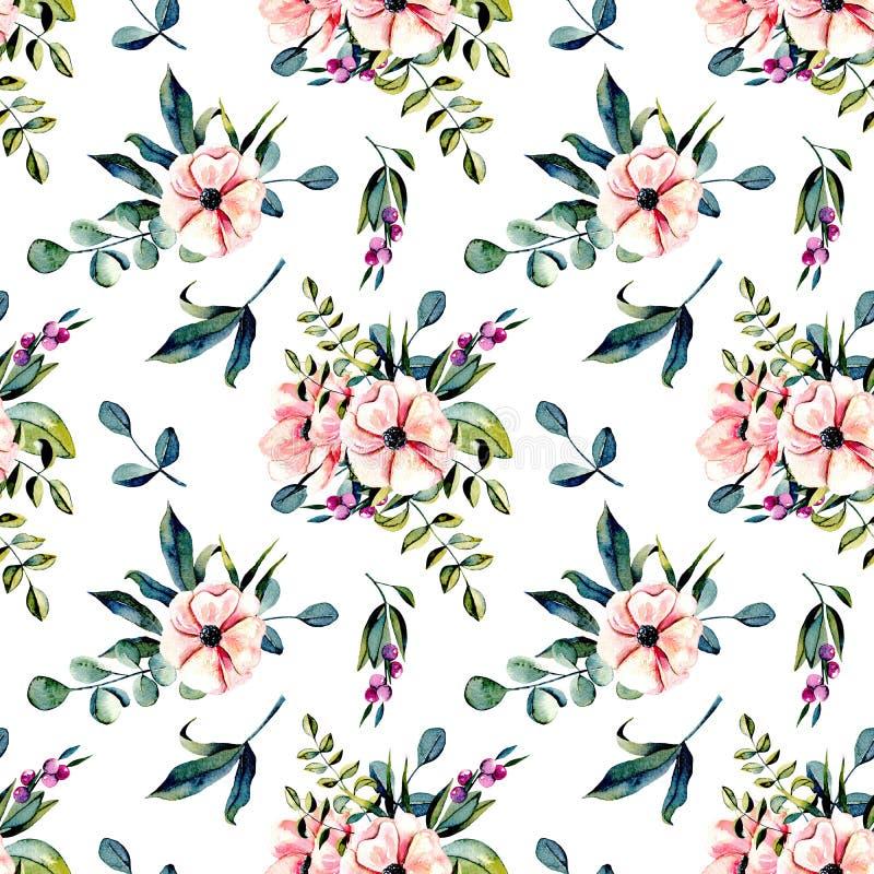Άνευ ραφής floral σχέδιο με τις ρόδινες ανθοδέσμες λουλουδιών watercolor και κλάδων ευκαλύπτων διανυσματική απεικόνιση