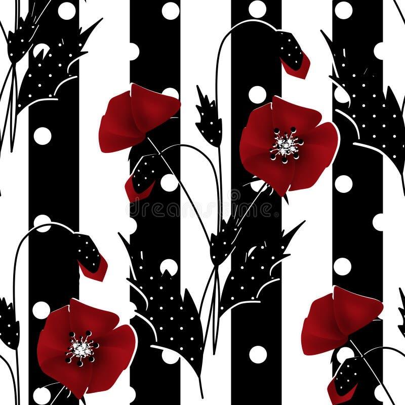 Άνευ ραφής floral σχέδιο με το κόκκινο ριγωτό υπόβαθρο παπαρουνών διανυσματική απεικόνιση