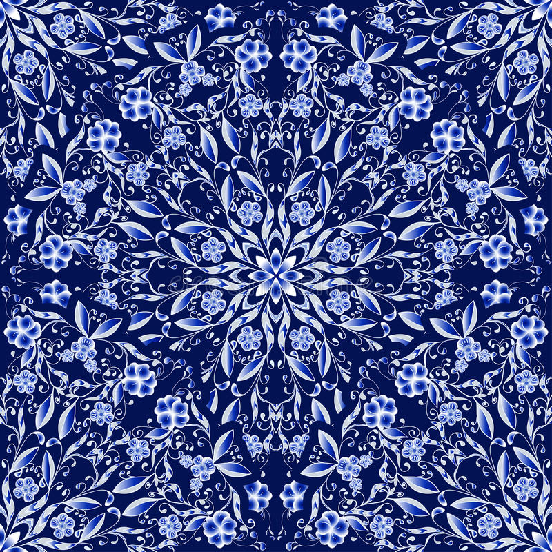 Άνευ ραφής floral σχέδιο των κυκλικών διακοσμήσεων Σκούρο μπλε υπόβαθρο στο ύφος της κινεζικής ζωγραφικής στην πορσελάνη απεικόνιση αποθεμάτων