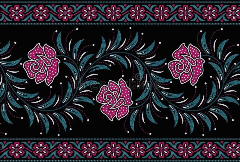 """Άνευ ραφής floral σύνορα με Ï""""Î¿ μαύρο χρώμα ελεύθερη απεικόνιση δικαιώματος"""