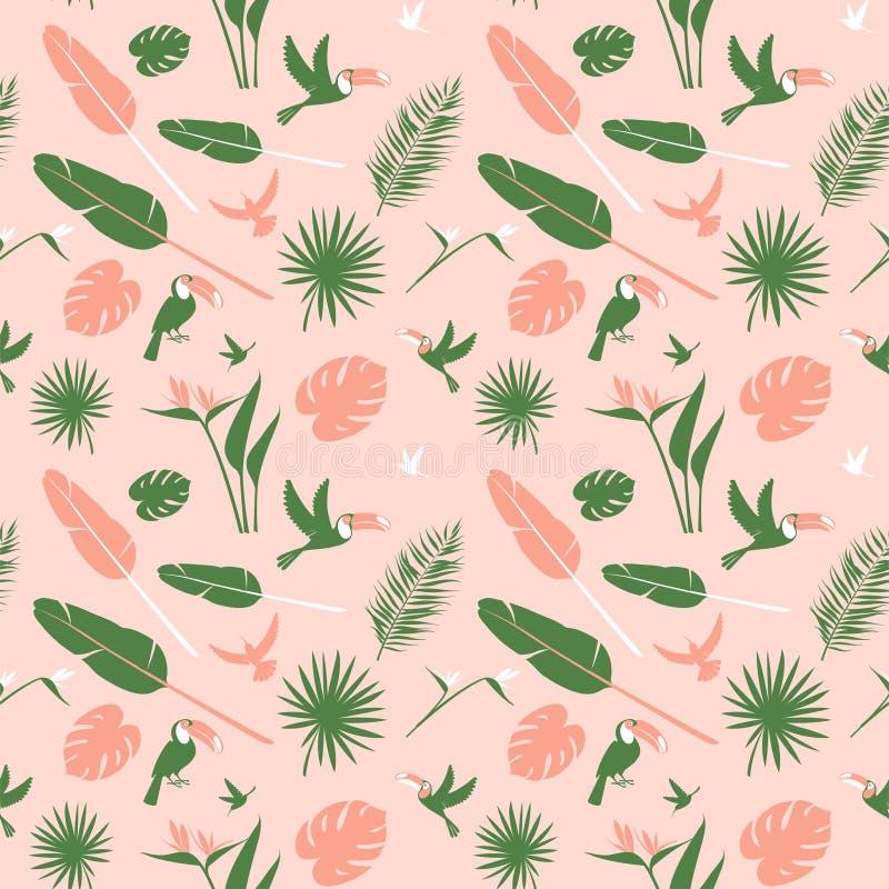Άνευ ραφής floral τροπικά λουλούδια υποβάθρου σχεδίων, πουλιά φύλλων φοινικών ζουγκλών ελεύθερη απεικόνιση δικαιώματος