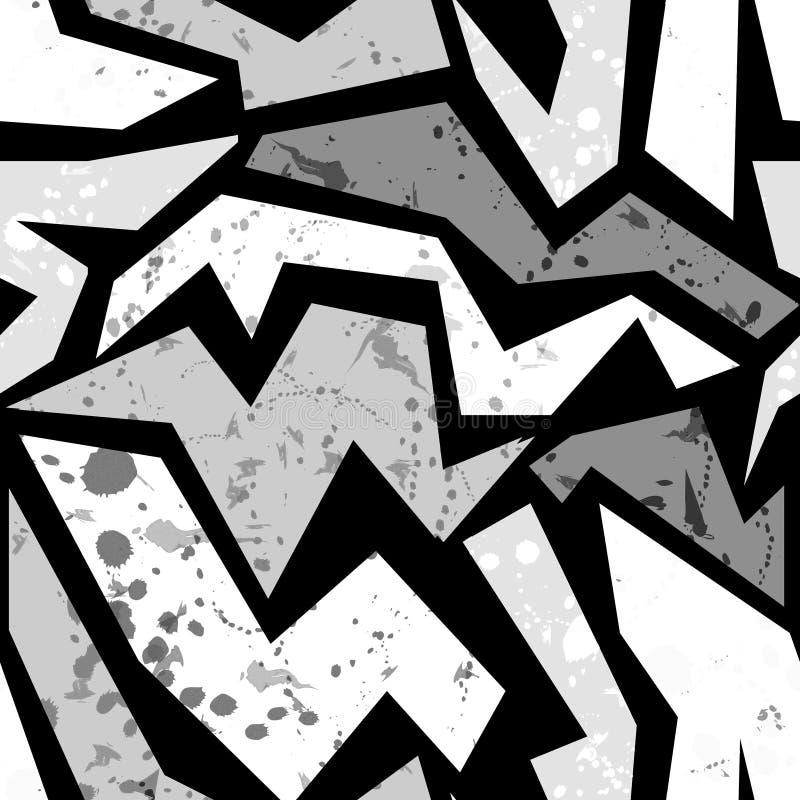 Άνευ ραφής grunge γκράφιτι τυπωμένη ύλη σχεδίων σχεδίων αστική διανυσματική απεικόνιση