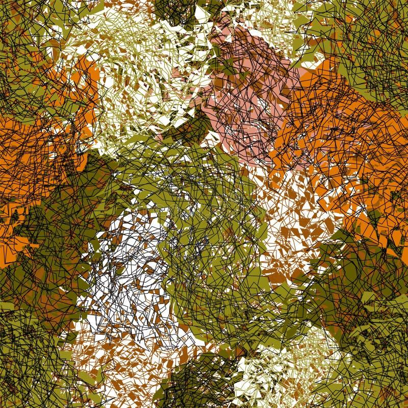 Άνευ ραφής grunge που λεκιάζουν και ριγωτό άνευ ραφής σχέδιο μωσαϊκών στα πράσινα, καφετιά, άσπρα χρώματα απεικόνιση αποθεμάτων