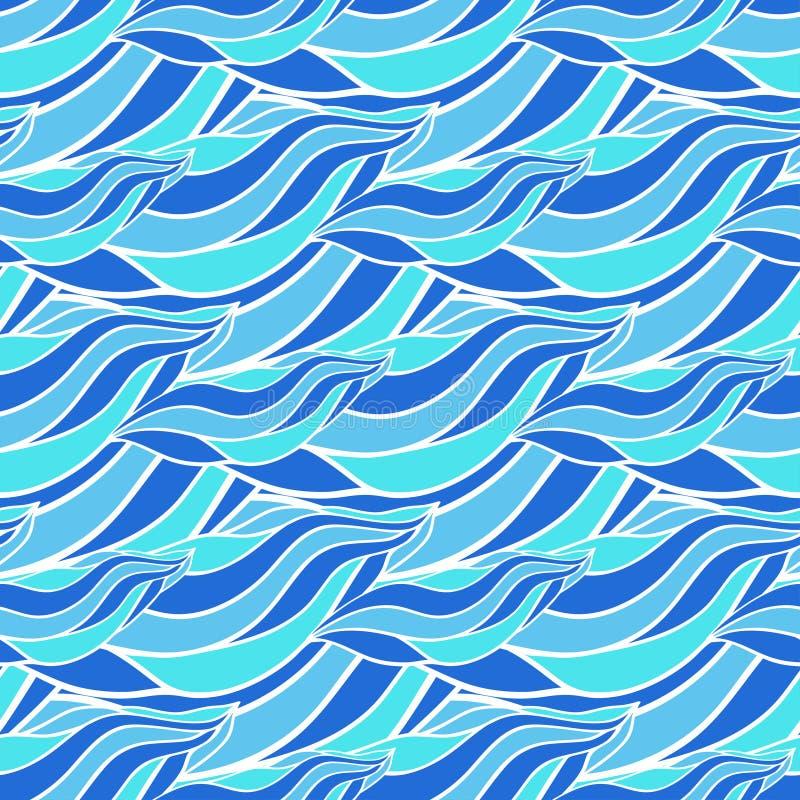 Άνευ ραφής hand-drawn σχέδιο κυμάτων, μπλε διανυσματικό υπόβαθρο κυμάτων Μπορέστε να χρησιμοποιηθείτε για την ταπετσαρία, το σχέδ απεικόνιση αποθεμάτων