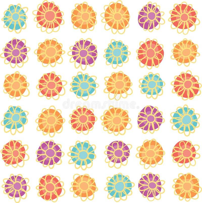 Άνευ ραφής hand-drawn σχέδιο λουλουδιών διανυσματική απεικόνιση