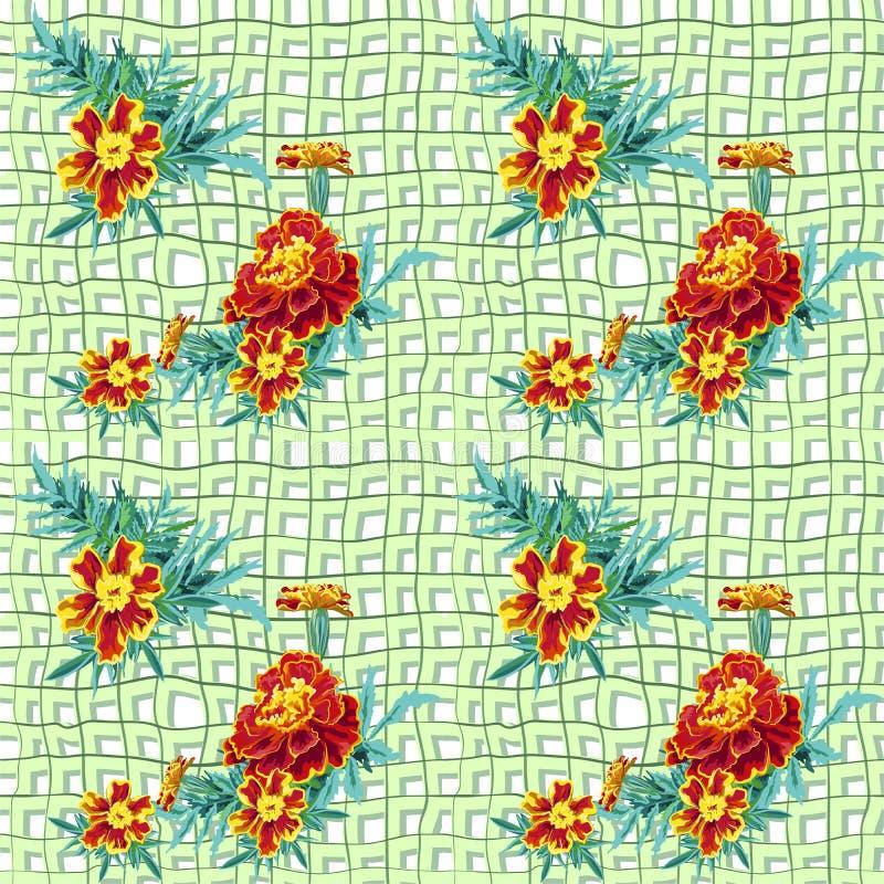 Άνευ ραφής marigold πλέγματος διανυσματική απεικόνιση