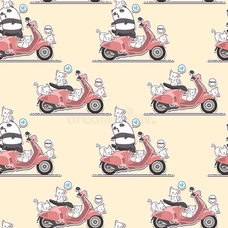 Άνευ ραφής panda αναβατών και χαριτωμένες γάτες με το ρόδινο σχέδιο μοτοσικλετών απεικόνιση αποθεμάτων