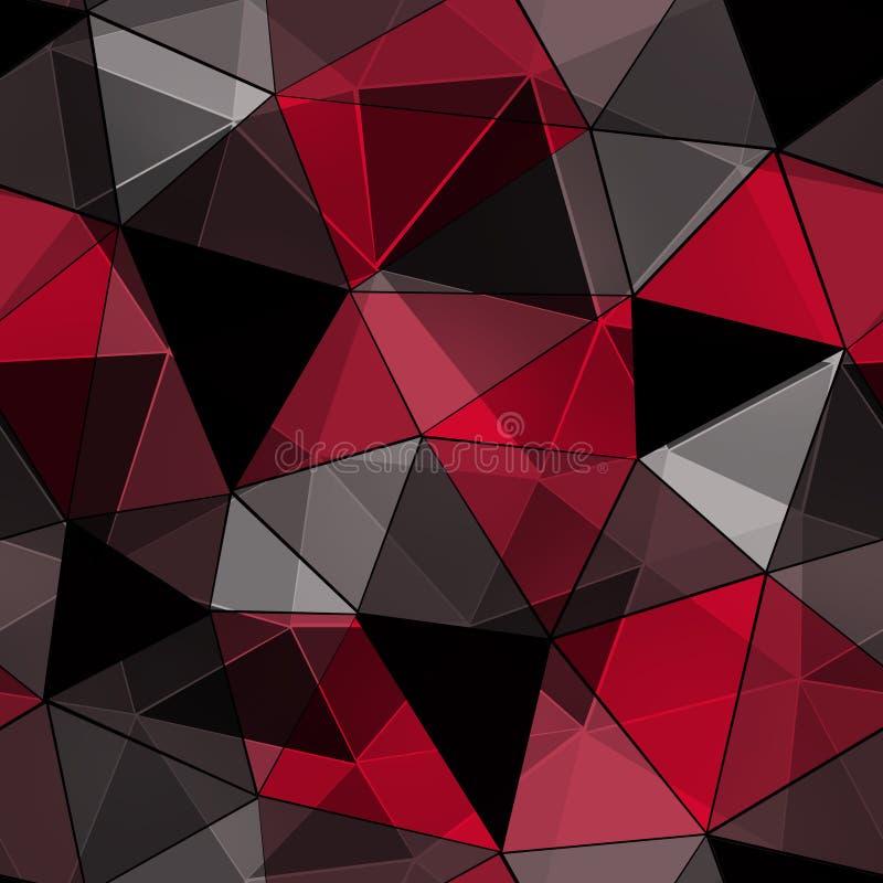 Άνευ ραφής polygonal σχέδιο, μαύρο, κόκκινο υπόβαθρο απεικόνιση αποθεμάτων
