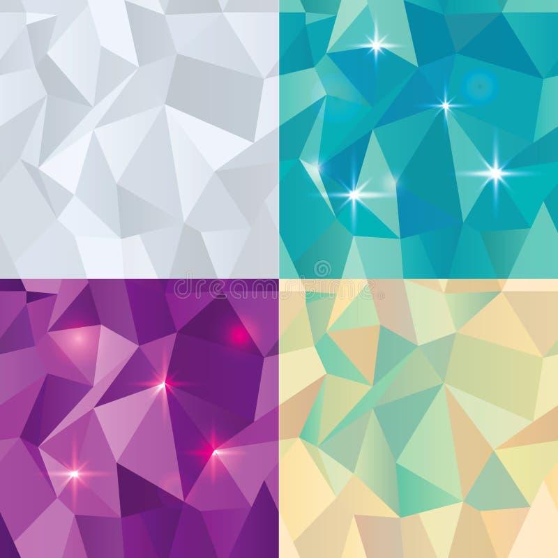 Άνευ ραφής Polygonal σύνολο σχεδίων, υπόβαθρο ελεύθερη απεικόνιση δικαιώματος