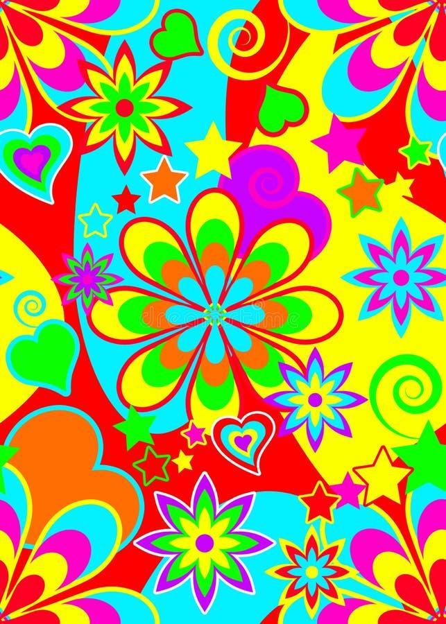 Άνευ ραφής psychedelic πρότυπο hippie απεικόνιση αποθεμάτων