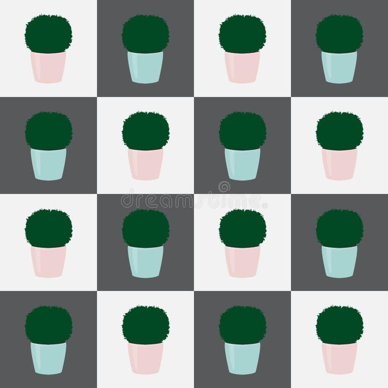 Άνευ ραφής topiary εγκαταστάσεις σχεδίων στο δοχείο στα τετράγωνα, διανυσματικό eps 10 διανυσματική απεικόνιση