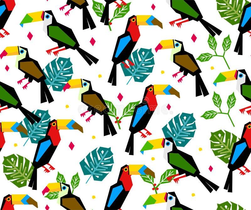 Άνευ ραφής toucan σχέδιο με το τροπικό φύλλο στο άσπρο υπόβαθρο διανυσματική απεικόνιση