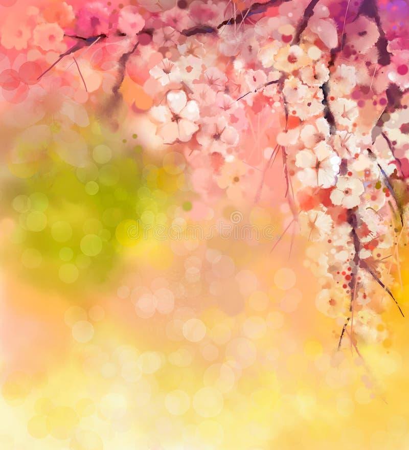 Άνθη κερασιών ζωγραφικής Watercolor ελεύθερη απεικόνιση δικαιώματος