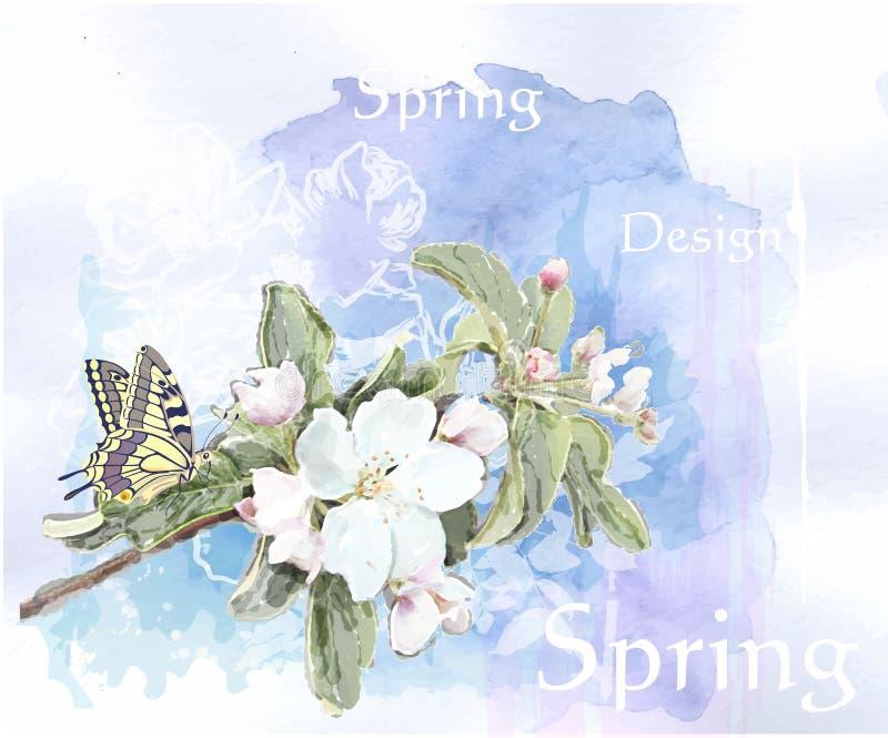 Άνθη κερασιών   και πεταλούδα διανυσματική απεικόνιση