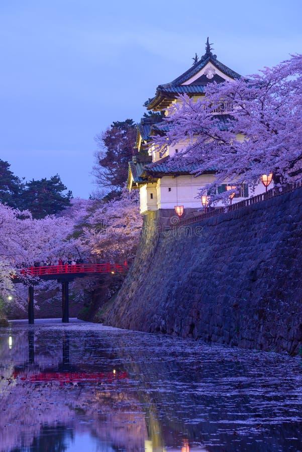 Άνθη κερασιών στο πάρκο Hirosaki στοκ εικόνες