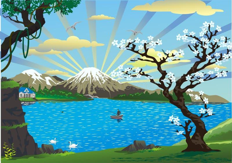 Άνθη τοπίο-κερασιών επάνω από τη λίμνη διανυσματική απεικόνιση