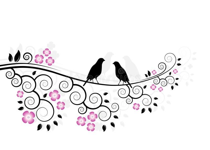 άνθισμα κλάδων πουλιών διανυσματική απεικόνιση