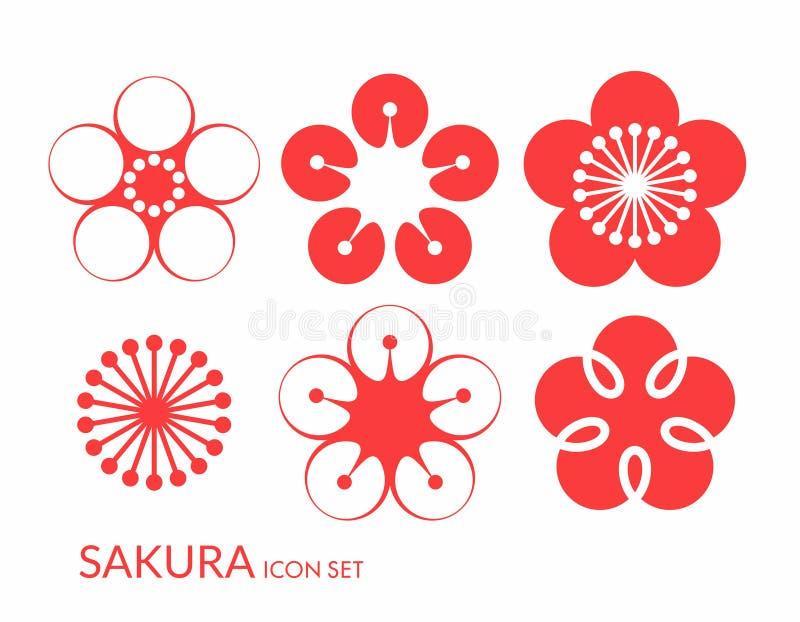 Άνθος κερασιών Sakura Σύνολο εικονιδίων ελεύθερη απεικόνιση δικαιώματος