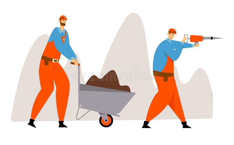 Άνθρακας ή να εξαγάγει μεταλλευμάτων, εργαζόμενοι σε ομοιόμορφο και κράνη με το κομπρεσέρ και Wheelbarrow με το χώμα Ανθρακωρύχοι ελεύθερη απεικόνιση δικαιώματος