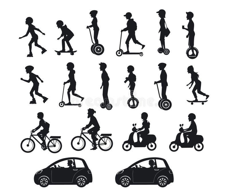 Άνθρωποι, άνδρες και γυναίκες που οδηγούν τα σύγχρονα ηλεκτρικά μηχανικά δίκυκλα, αυτοκίνητα, ποδήλατα, skateboards, segway, hove ελεύθερη απεικόνιση δικαιώματος
