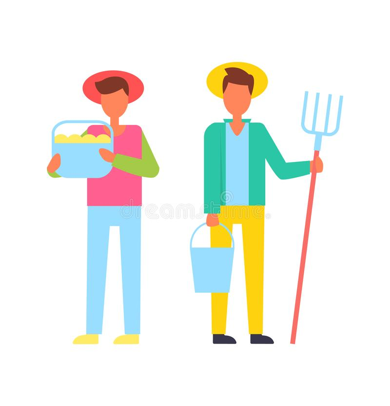 Άνθρωποι αγροτών με τη διανυσματική απεικόνιση εργαλείων απεικόνιση αποθεμάτων