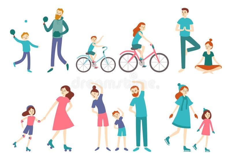 Άνθρωποι αθλητικών οικογενειών Ζεύγος με τα παιδιά στην ικανότητα workout, την αντισφαίριση ανακύκλωσης και παιχνιδιού Διάνυσμα δ απεικόνιση αποθεμάτων